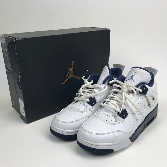 a4867d36b84cd0 AIR JORDAN 4 RETRO BG WHITE-LEGEND BLUE SZ 7Y. M 5c5a6df59fe48624c1136b41
